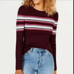90's Prep Stripe Ribbed Sweater Long Sleeve Top